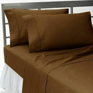1000 Thread Count 6 PC Bed Sheet Set Egyptian Cotton Full Size Chocolate Solid