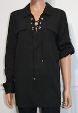 New Calvin Klein Top Blouse Shirt Long Sleeve Black, Size L, MSRP $69