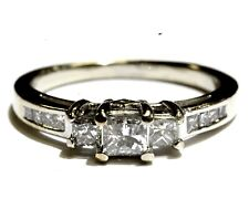 14k white gold 1ct princess diamond 3 stone engagement ring 4.2g  ladies