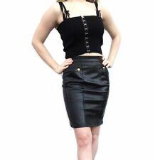 Goth 90s Black Genuine Leather Skirt Unif Killstar Lip Service Harley Davidson
