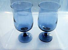 set of 2 blue glass drinking glasses vintage cocktail glasses goblets wine glass
