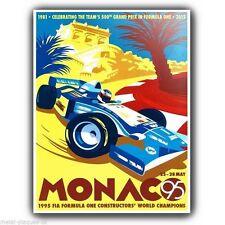SEGNALE METALLICO PLACCA A MURO Rétro MONACO Grand Prix 1995 pubblicità