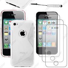 Coque SiliconeS-line Transparent Apple iPhone 4S 4+Mini Stylet+3 Film écran