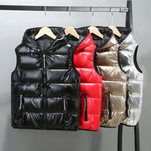 New Spring Glossy Men Down Cotton Vest Hooded Waistcoat Jacket Men Short Coat
