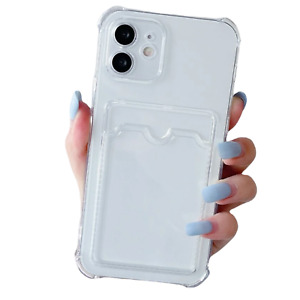 Clear Gel Case With Card Slot Holder For iPhone 13 Mini Pro Max Shockproof