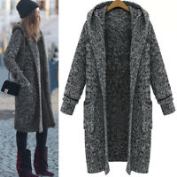 Mode Winter Frauen mit Kapuze lange Pullover Mantel Outwear dunkelgrau