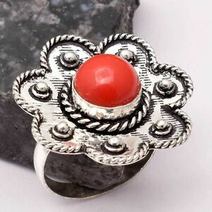 Coral Ethnic Handmade Ring Jewelry US Size-9 AR 67316