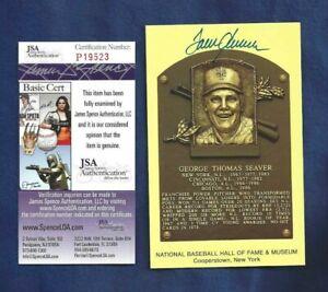 Tom Seaver New York Mets Baseball Autographed HOF Plaque Postcard JSA COA