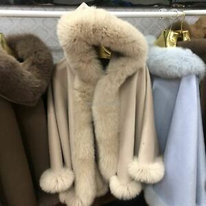 Wool Cashmere Cape Coat Fox Fur Trim All Round Cloak Poncho Wraps -Hooded