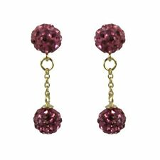Sterling Silver Gold Plated Hot Pink Crystal Disco Balls Dangle Drop Earrings