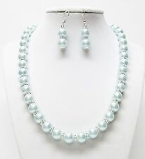 Baby Blue Glass Pearl w/Darice Silver Spacer Necklace & Earrings Set
