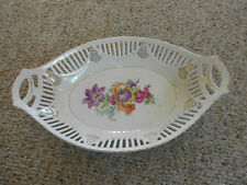 Dresden Germany Hand Painted Reticulated Oval Bowl