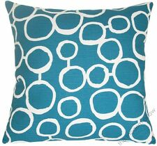 Deep Aqua Blue,White Freehand decorative throw pillow/cushion cover 20x20""