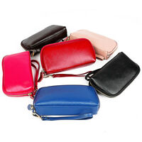 Womens Real Leather Clutch Soft Zip Around Small Handbags Phone Bag Wallet Purse