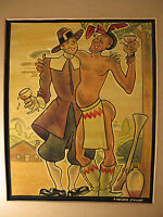 1940's ORIG SIGNED PAINTING BY 38 YR DISNEY ANIMATOR ARTIST 'THANKSGIVING' #10