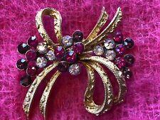 Vintage Signed CORO Pink & Purple Rhinestone Gold Tone Pin Brooch