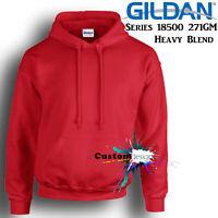 Gildan Red Hoodie Heavy Blend Basic Hooded Sweat Sweater Mens S  - XXL