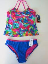 Speedo Girl's 16  Pink Blue 2 Pc Bikini Tankini Bikini Swimsuit Set Swim NWT