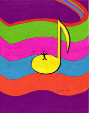 "ORIGINAL ART Signed Ink Drawing - Music Note on Staff ""A Cheery Note""  11x14"""