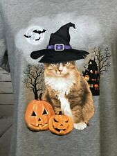 NWT Celebrate Halloween Halloween T-Shirt Size L 12 - 14 Gray  Witch Cat Women's