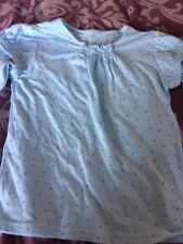 Girls M& S Pale Blue Spotted Long Sleeved Top Age 4-5 Years