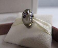 New w/BOX Pandora Gray & Black Flowers For You Glass Bead Charm 790642 Grey