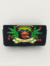CELL PHONE BLACK LEATHER POUCH  WEED- POT DESIGN WITH BELT CLIP 4.5X2.5X1