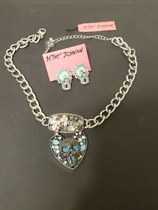 Betsey Johnson Heart, Skull Lock Necklace and Earing Set with Tags