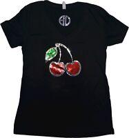 women's cherries bling Shirt sequins glitter sparkling v neck