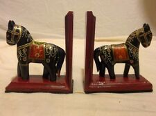 Indian Hand Crafted Painted Wooden Horse Bookends