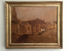 "original oil painting framed ""city view"" signed seymour remenick 1923-1999"