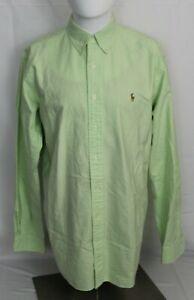 RALPH LAUREN Men's 16-34/35 Green Classic Fit Button Down Collar Dress Shirt
