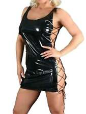 Black PVC Dress with lace up sides Size 8 - 10 S / M wetlook vinyl sexy Ladies