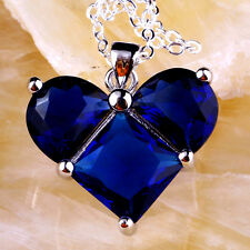 Jewelry Silver Chic Necklace Pendant Blue Sapphire Graceful Gemstone Fashion