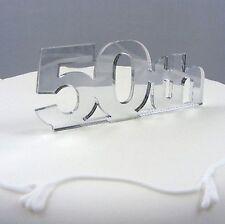 50th Birthday Cake Topper - Mirrored