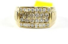 Fine Wide Round Cut 4 Row Diamond Cluster Men's Ring Band 14k Yellow Gold 1.60Ct