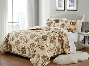 MK Home 3pc King/California King Bedspread Quilted Print Floral Beige Red Blue T