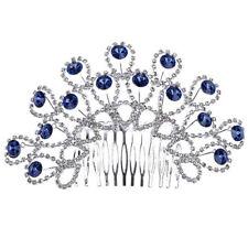 Chic Charmed Cute Silver Tone Blue Crystal Rhinestone Beauty Bridal Hair Comb