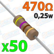 Resistencia 470 ohm 0,25w ±5% 300v - Lote 50 unidades - Arduino Electronica DIY