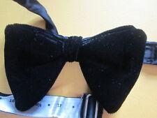 "Vintage Black Velvet Bow Tie 3"" x 5"" Adjustable 14"" to 18"" Pre-owned EVC"