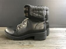 Atmosphere Black Leather Fur Top Ankle Boots Size UK 4 Dr Martin Style