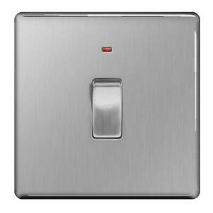 BG Screwless Brushed Steel FBS31 20A DP with power indicator