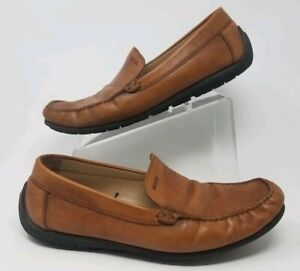 Ecco Driving Mocs Venetian Penny Loafers Brown Leather Mens Size 47 EUR 14 US