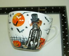 New Portobello Halloween Bony Boxer Dog Bat Paw Print Fine Bone China Mug