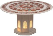 "30"" White Marble Carnelian Floral Inlay Table Top With 2' Hand craved Stand W535"