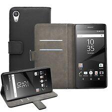 Geldbörse schwarz Leder Flip Case Cover Etui für Sony Xperia z5 Premium Experia