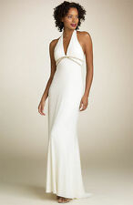 NEW MARY L COUTURE Halter Jersey CRYSTALS DRESS GOWN SIZE 8 WEDDING NORDSTROM