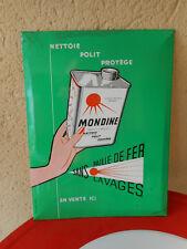 Plaque publicitaire glacoide bidon MONDINE 1957 garage auto NO PLAQUE EMAILLEE