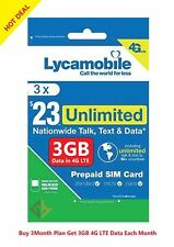 Lycamobile Preloaded Sim Card $23X3 Months Plan Talk Text 3Gb Data With 4G Lte