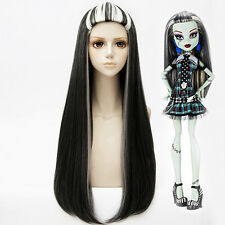 Monster High Frankie Stein Long Cosplay Wig Halloween Masquerade Party Wig Hair